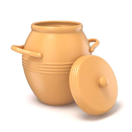 stoneware: Opened clay pot with lid. 3D render illustration isolated on white background Stock Photo