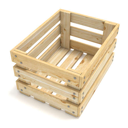 wooden crate: Empty wooden crate. Side view. 3D render illustration isolated on white background
