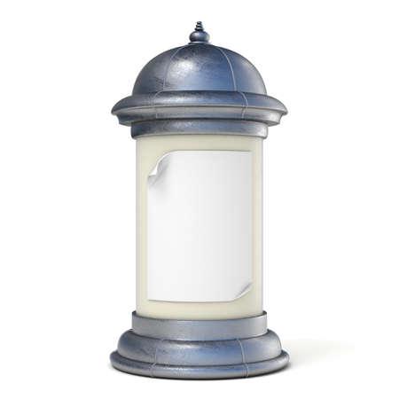 advertising column: Blank advertising column. 3D render illustration isolated on white background