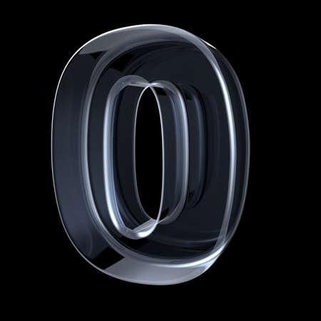 Transparant röntgennummer 0 ZERO. 3D render illustratie op zwarte achtergrond Stockfoto