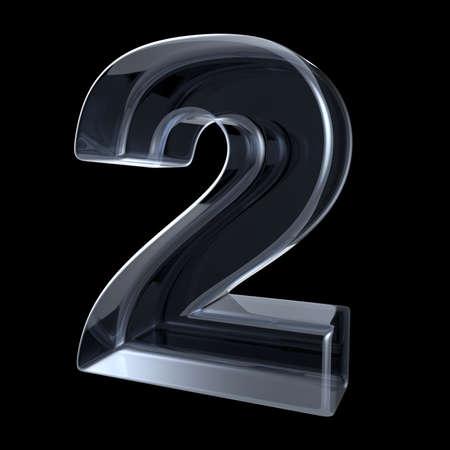 Transparant röntgennummer 2 TWEE. 3D render illustratie op zwarte achtergrond