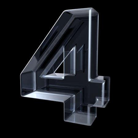 Transparant röntgennummer 4 VIER. 3D render illustratie op zwarte achtergrond
