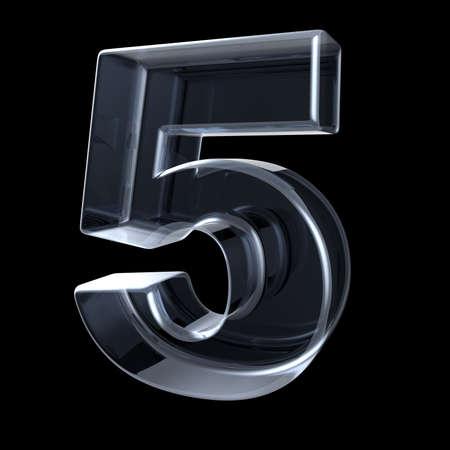Transparant röntgennummer 5 VIJF. 3D render illustratie op zwarte achtergrond