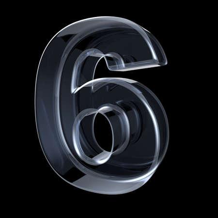 Transparant röntgennummer 6 SIX. 3D render illustratie op zwarte achtergrond