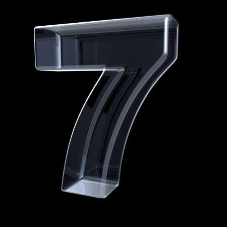 Transparante x-ray nummer 7 ZEVEN. 3D illustratie op zwarte achtergrond maken Stockfoto