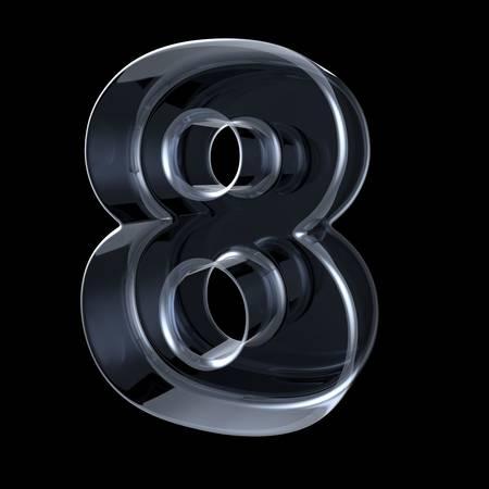 Transparant röntgennummer 8 ACHT. 3D render illustratie op zwarte achtergrond Stockfoto
