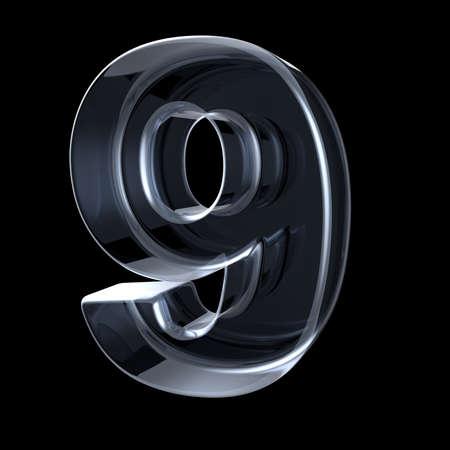Transparant röntgennummer 9 NEGEN. 3D render illustratie op zwarte achtergrond