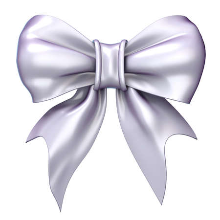 white satin: White, satin, glossy ribbon bow. 3D render illustration isolated on white background Stock Photo