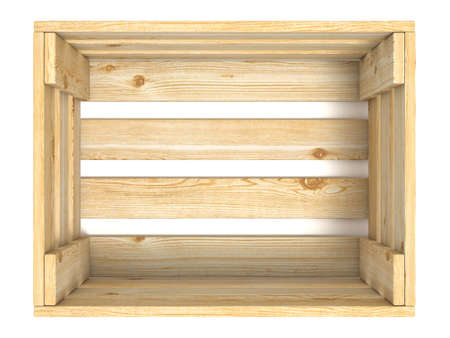 empty box: Empty wooden crate. Top view. 3D render illustration isolated on white background Stock Photo