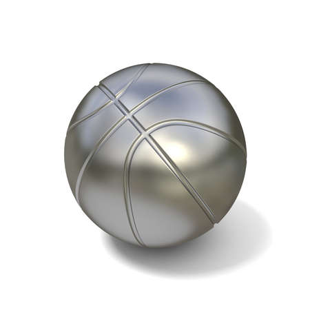 Silver basketball ball isolated on white background. 3D illustration