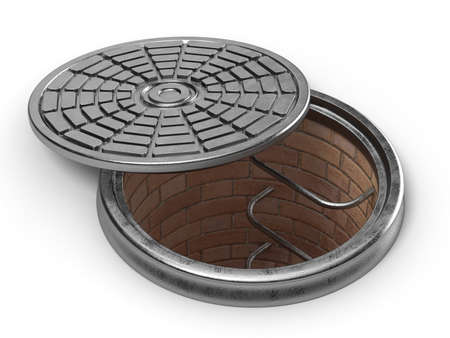 canalization: Manhole cover lid. 3D render illustration isolated on white background Stock Photo