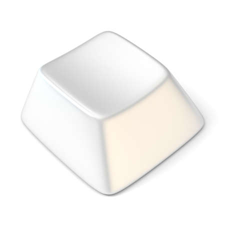computer key: White empty computer key. Side view. 3D render illustration isolated on white background