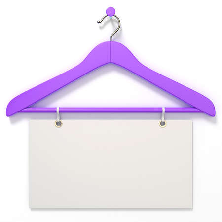 gifttag: Purple hanger with blank tag. 3D render illustration isolated on white background Stock Photo