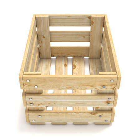 wooden crate: Empty wooden crate. Front view. 3D render illustration isolated on white background Stock Photo
