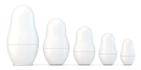 unpainted: Set of white unpainted matryoshka dolls. 3D render illustration isolated on white background
