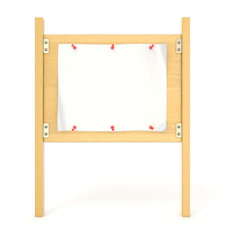 thumbtack: Wooden sign board with blank poster and red thumbtack. 3D render illustration isolated on white background