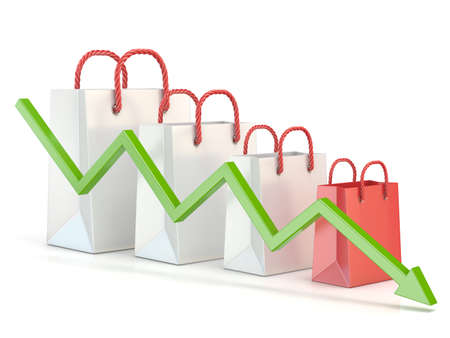 purchasing power: Shopping bag decreasing chart. Sales reduction chart. 3D render illustration isolated on white background