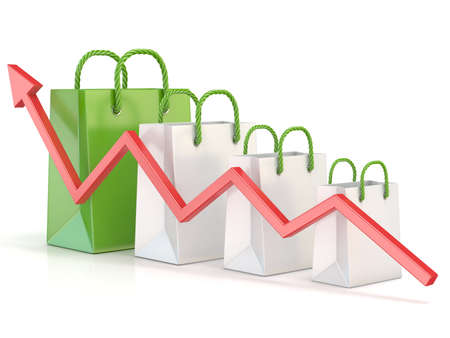 price gain: Shopping bag increasing chart. Sales growth chart. 3D render illustration isolated on white background