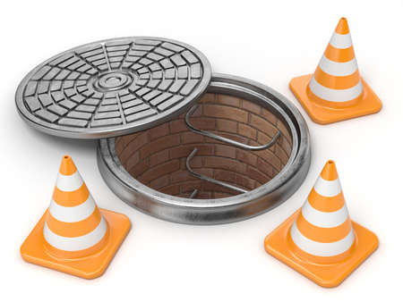 canalization: Open manhole and traffic cones. Under construction concept. 3D render illustration isolated on white background Stock Photo