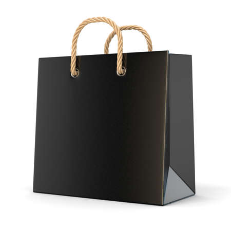Single, empty, black, blank shopping bag. 3D render illustration isolated on white background Фото со стока