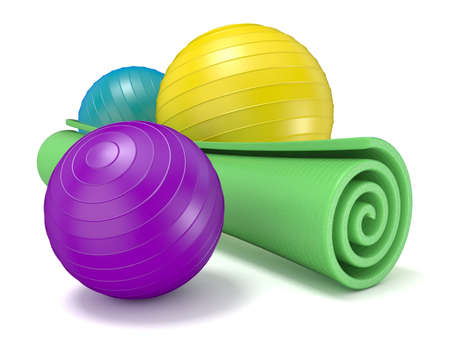 pilates ball: Green fitness mat and pilates ball. 3D render illustration isolated on white background Stock Photo
