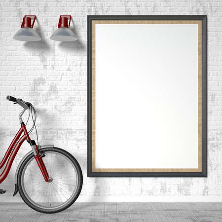 blank poster: Blank picture frame with bike and wall light. Mock up poster. 3D rendering illustration Stock Photo