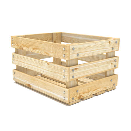 crate: Empty wooden crate. Side view. 3D render illustration isolated on white background