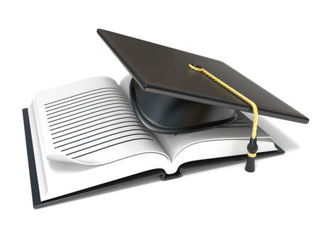 open notebook: Graduation cap on open blank notebook. 3D render illustration isolated on white background Stock Photo