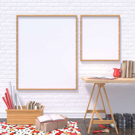 vintage photo frame: Mock up posters frames in art atelier with wooden table, and red details, 3D render illustration