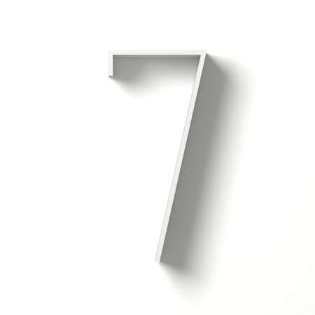 Long shadow digit. Number SEVEN 7. 3D render illustration isolated on white background Фото со стока