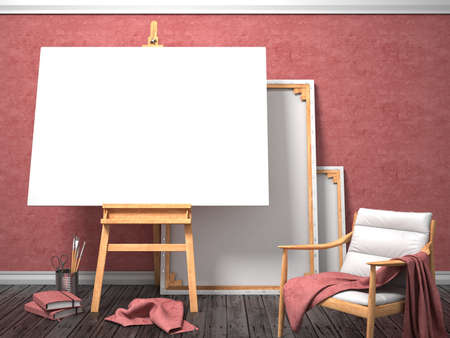 canvas on wall: Mock up canvas frame with easy chair, easel, floor and red wall. 3D render illustration Stock Photo