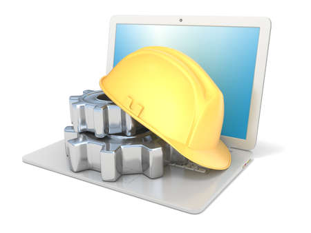 safety gear: Laptop with safety helmet and gear wheels. 3D render illustration isolated on white background