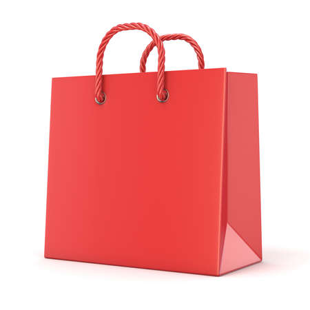 ruddy: Single, empty, red, blank shopping bag. 3D render illustration isolated on white background