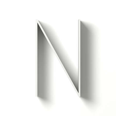 Long shadow font. Letter N. 3D render illustration isolated on white background