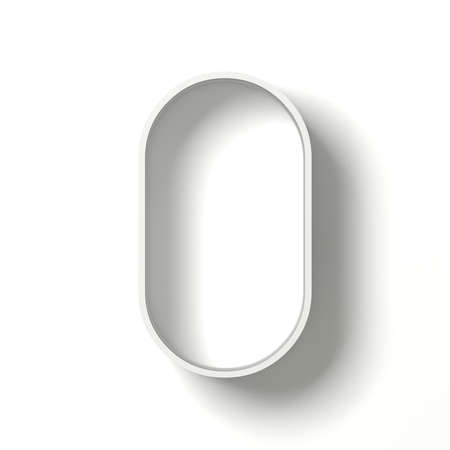 Long shadow font. Letter O. 3D render illustration isolated on white background Фото со стока