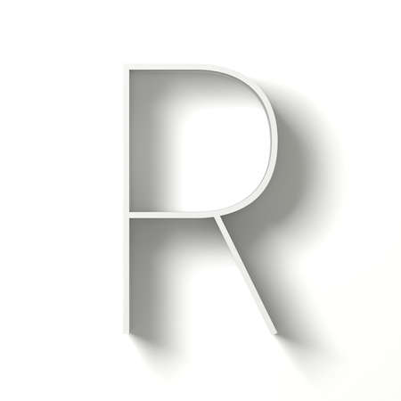 Long shadow font. Letter R. 3D render illustration isolated on white background