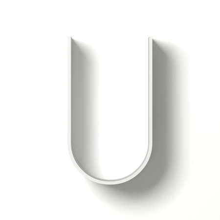 paper graphic: Long shadow font. Letter U. 3D render illustration isolated on white background Stock Photo