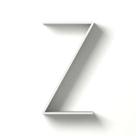 Long shadow font. Letter Z. 3D render illustration isolated on white background Фото со стока