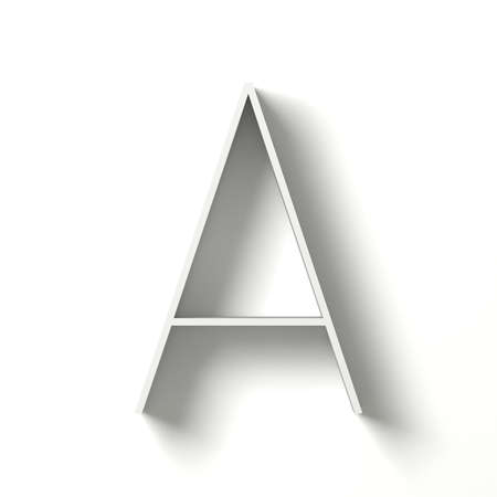 paper spell: Long shadow font. Letter A. 3D render illustration isolated on white background