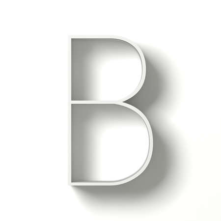 paper spell: Long shadow font. Letter B. 3D render illustration isolated on white background