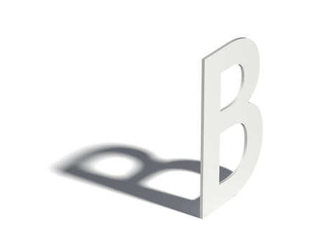 angled: Drop shadow font. Letter B. 3D render illustration isolated on white background