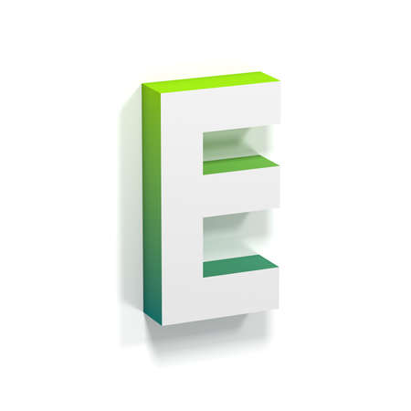 angled view: Green gradient and soft shadow font. Letter E. 3D render illustration isolated on white background Stock Photo