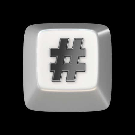 tweet icon: Computer keyboard key hashtag, sign 3D render illustration isolated on black background