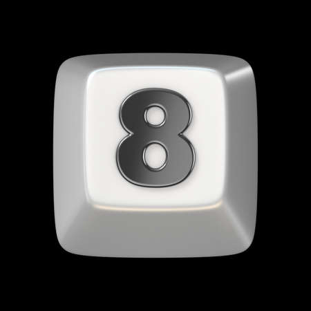 figure of eight: Computer keyboard key number EIGHT 8 3D render illustration isolated on black background