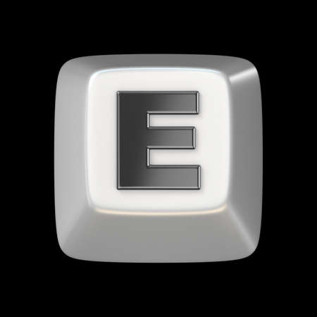 typer: Computer keyboard key FONT. Letter E 3D render illustration isolated on black background Stock Photo