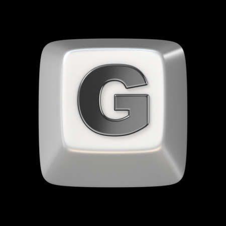 Computer keyboard key FONT. Letter G 3D render illustration isolated on black background Stock Photo