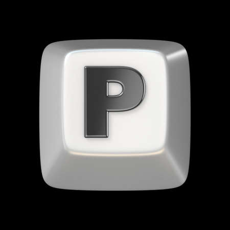 typer: Computer keyboard key FONT. Letter P 3D render illustration isolated on black background Stock Photo