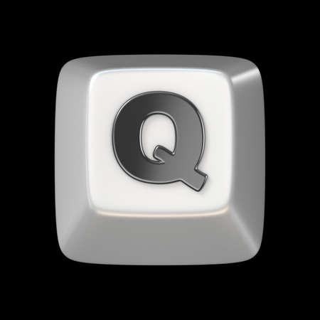 Computer keyboard key FONT. Letter Q 3D render illustration isolated on black background
