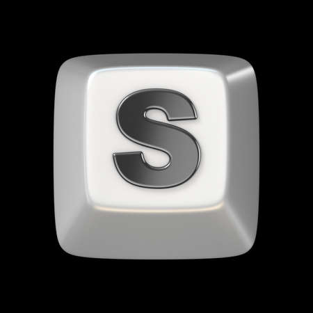 typer: Computer keyboard key FONT. Letter S 3D render illustration isolated on black background Stock Photo