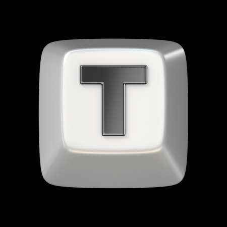 t square: Computer keyboard key FONT. Letter T 3D render illustration isolated on black background Stock Photo